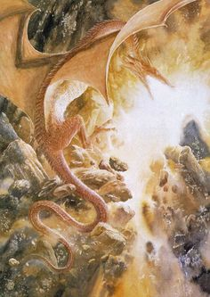 The Hobbit - Fire and Water (JRR Tolkien) illustration by Alan Lee Alan Lee, Hobbit Films, Hobbit Art, O Hobbit, Hobbit Hole, Tolkien Books, J. R. R. Tolkien, Legolas, Lotr