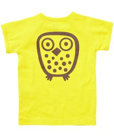 Ej Sikke Lej levendig gele zomer t-shirt met uilenprint #emilea