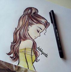 Image via We Heart It https://weheartit.com/entry/142582837 #art #beautiful #beautyandthebeast #belle #dress #hair #pretty #sketch #tumblr