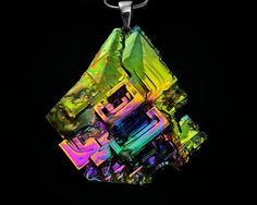 Glory, Iridescent Bismuth Metal Crystal, a Sterling Silver Bail,Pendant on Leather or Snake Chain Necklace, Statement