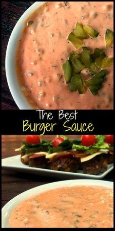 The Best Burger Sauce! We love to dip our Patty Melts (and fries) in it! The Best Burger Sauce! We love to dip our Patty Melts (and fries) in it! Best Burger Sauce, The Best Burger, Good Burger, Burger Food, Gourmet Burgers, Beef Burgers, Veggie Burgers, Burger Recipes, Copycat Recipes