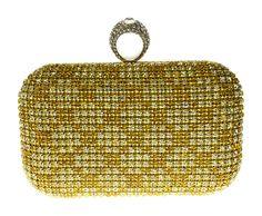 Clutch Dourada com cristais e anel. Linda bolsa de festa!