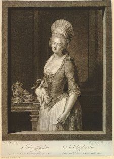 Stubenmädchen von Wien (A Chamber-maid at Vienna) TQL portrait of a chamber maid wearing a bonnet holding a letter in her l hand and a dog under her r arm; teapot and cups and a croissant on a plate in the background to l. 1785  Mezzotint British Museum  1902,1011.2810