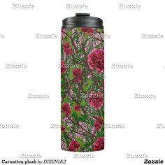 Shop Carnation plush thermal tumbler created by DISENIAZ. Custom Tumblers, Carnations, Flower Designs, Pink Flowers, Water Bottle, Plush, Mugs, Personalized Tumblers, Tumblers
