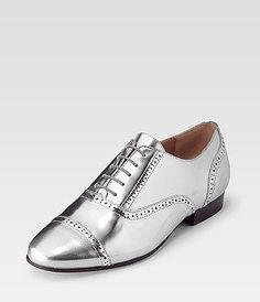 Cox Metallic shoes silver Brogues