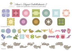Ann Griffin Elegant Embellishments 2 Cricut cartridge images - sheet 1 of 2 - 4/16 autoship from Ribbons and Bows cartridge purchase in January