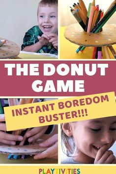 Simple Donut Game that takes away your kid boredom! Indoor Activities For Kids, Games For Kids, Games To Play, Kid Games, Preschool Ideas, Summer Activities, Toddler Activities, Outdoor Activities, Donut Games