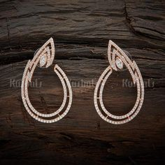 Designer cubic zircon earrings plated with rose gold polish and made of copper alloy! Stone Earrings, Women's Earrings, Diamond Earrings, Jewellery Sketches, Jewellery Designs, Gold Jewelry, Jewelry Rings, Jewelery, Silver Earrings Online