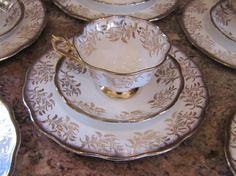C1957 - 1960's Royal Albert Bone China Tea Service, Cups, Saucers and Desert Dishes 6 sets on Etsy