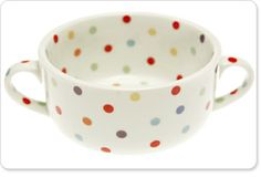 Fun polka dotted two handled cup, cute stuff on fishs eddy