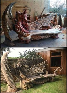 New Ideas Wood Sculpture Dragon Jardin Decor, Gothic House, Dragon Art, Dragons, Unique Furniture, My Dream Home, Wood Art, Wood Crafts, Wood Projects