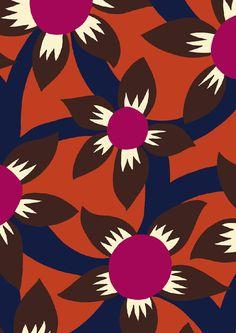 #minakani #flowers #bold #graphic #dot #pattern Motif Vintage, Vintage Prints, Textiles, Textile Prints, Flower Patterns, Print Patterns, Graphic Wallpaper, Vintage Flowers, Flower Prints