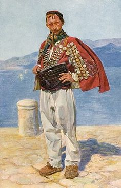 Croatia - Traditional National Costume (2/8) - Young man on the quayside with a decorative outfit with large wide leather belt