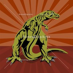 This royalty-free vector stock image is an illustration of t-rex dinosaur standing with sunburst in the background done in retro style. This retro clip art stock image is offered with a non-exclusive Royalty Free License. Once licensed you may use the image for commercial or personal uses covered by the terms.