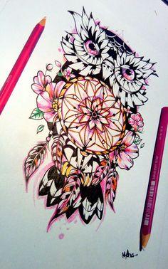 Capteur de rêves , hibou, fleurs !!