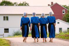 Barefoot Amish girls in rural Pennsylvania.