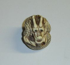 bead japanese dragon | Vintage Handcarved Japanese Coiled Dragon Ivory Ojime Bead