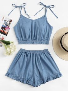 Shop Frill Trim Cami Top With Shorts online. SHEIN offers Frill Trim Cami Top With Shorts & more to fit your fashionable needs. Girls Fashion Clothes, Teen Fashion Outfits, Outfits For Teens, Girl Outfits, Trendy Clothing, Cute Lazy Outfits, Crop Top Outfits, Stylish Outfits, Jeans Outfits