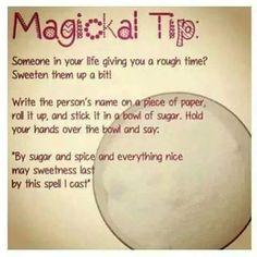 sugar bowl spell, sweeten someone up