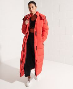 Womens - Touchline Longline Padded Coat in High Risk Red | Superdry Nylons, Long Puffer Coat, Recycled Bottles, Long A Line, Superdry, Classic Style, Jackets For Women, Underwear, Winter Jackets