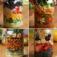 Make-Ahead Mason Jar Salads For The Week - Featuring Mediterranean Lentil Salad, Quinoa Fruit Salad, Protein-Packed Roasted Vegetable Salad, Southwestern Salad and Crunchy Thai Salad Mason Jars, Mason Jar Meals, Meals In A Jar, Mason Jar Recipes, Mason Jar Lunch, Healthy Meal Prep, Healthy Salads, Healthy Eating, Healthy Food