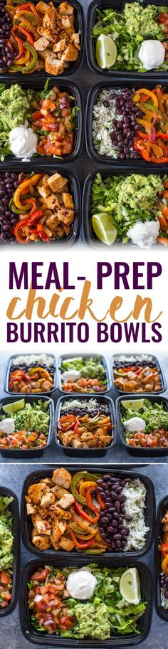 Meal-Prep Chicken Burrito Bowls -- a week's worth of lunch made in just 1 hour. This time-saving meal-prep chicken burrito bowls recipe will help you get healthy lunch on the table at work, school or home quickly without sacrificing flavor or your hard-earned money!