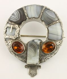 Superb Victorian c 1890 silver Scottish agate Cairngorm citrine brooch pin