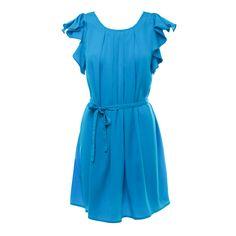 Feminine blue dress.