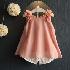 Cheap fashion kids clothes, Buy Quality kids clothes directly from China kids clothes fashion Suppliers: Summer Fashion Toddler Girls Outfits Children Clothing Sets Chiffon Loose Sleeveless Top+Shorts Suits Kids Clothes Toddler Girl Outfits, Baby Outfits, Little Girl Dresses, Kids Outfits, Toddler Girls, Baby Girls, Baby Boy, Summer Outfits, Baby Girl Fashion