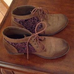 Brown Booties Size 6 1/2 booties. Sides have a black netting with plum colored embroidery. So cute. Always got lots of compliments when I wore these Nature Breeze Shoes Ankle Boots & Booties