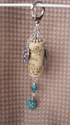 Cork and gems keychain.