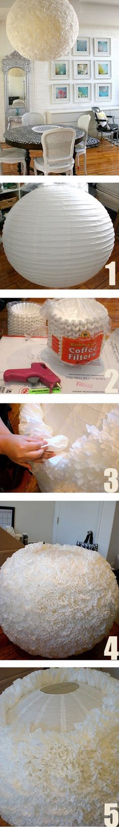 DIY Lampenkap met een IKEA lamp en koffiefilters. Door Samzxx-that is insanely amazing!!!
