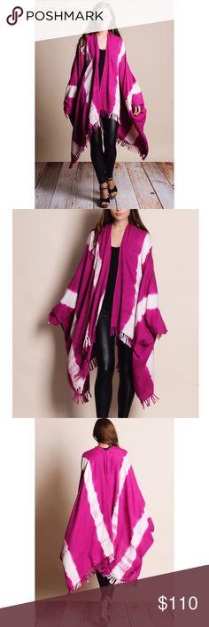 Handmade Woven Poncho Kimono Pink tie dye handmade poncho kimono. The perfect layering piece. Bare Anthology Sweaters Cardigans