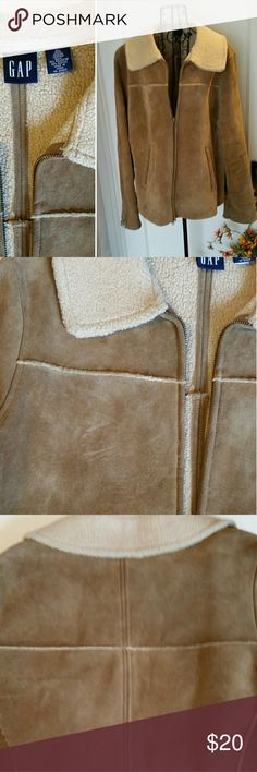 GAP Suede Shearling Coat Genuine suede leather with shearling lining.  Well loved with one minor scuff as shown but still a great coat with lots of life! Priced accordingly. GAP Jackets & Coats
