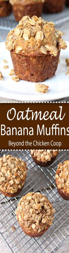 Oatmeal Banana Muffins with an oatmeal crumb topping. #muffins, #oatmealmuffins #bananamuffins #breakfast