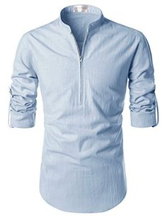 be604295a322 NEARKIN Beloved Men Henley Neck Long Sleeve Daily Look Linen Shirts at Amazon  Men s Clothing store