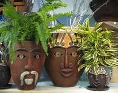 Image result for clay face of a man planter