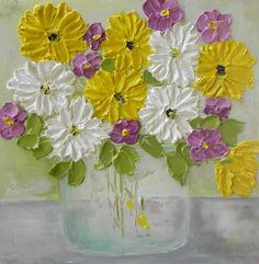 "Oil Painting impasto canvas painting ""Daisy"" Palette Knife Painting, Wedding,"