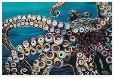 Wild Octopus I by Carolee Vitaletti Canvas Triptych - Canvas Art Prints, Painting Prints, Canvas Wall Art, Framed Prints, Poster Prints, Acrylic Wall Art, Canvas Paintings, Abstract Paintings, Animal Paintings