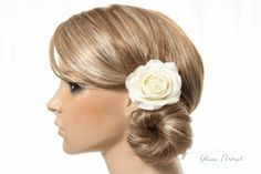 Cream White Rose Hair Clip / Brooch / Corsage Petite by GlamFloral, $20.00
