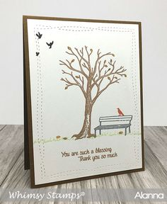 Great stamp set for clean and simple thank you or Fall cards...Spring too!