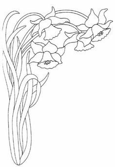 T T 3 daffodils in corner Machine Embroidery Patterns, Hand Embroidery Designs, Vintage Embroidery, Floral Embroidery, Embroidery Stitches, Quilt Patterns, Stencil Painting, Fabric Painting, Colouring Pages