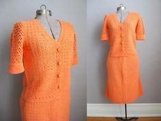 1950s Sweater Set Skirt Top Two Piece Orange by SoubretteVintage, $65.00