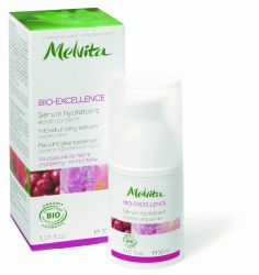 Melvita Bioexcellence - Moisturizing Anti-Aging Serum, 1.01 Fluid Ounce Bottle by Melvita. $39.00. Melvita Moisturizing Anti-Ageing Serum is an unscented, allergen-free Moisturizing serum that is extremely gentle and fluid and revitalises prematurely dehydrated skin.. This fresh,  unscented  Eye contour cream quickly eliminates any signs of  tiredness , removes  wrinkles and bags  under the eyes, reduces expression lines and  tones the eyelids .  Made from a combination of  cor...