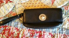 NEW Kate Spade Black Leather Wristlet Wallet Silver Kate Spade Signature Clasp