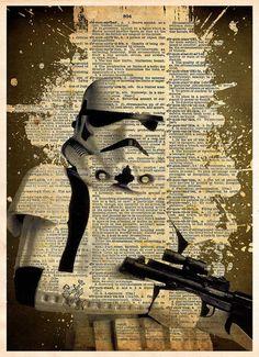 Storm Trooper pop art print, Star wars pop art, splatter ink art, Retro Star Wars Art, Dictionary print art