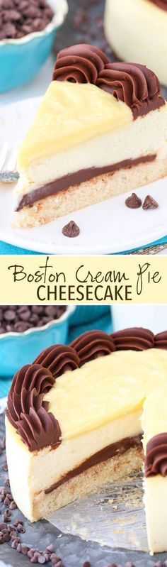 Boston Cream Pie Cheesecake - a vanilla cake bottom, fudgy chocolate ganache filling, thick and creamy cheesecake and pastry cream topping! So good!