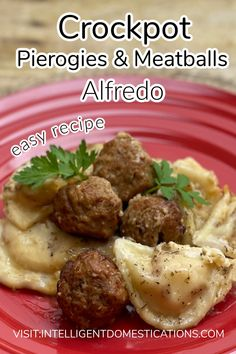 Easy recipe for Peirogies and Meatballs Alfredo made in the Crockpot. This Slow cooker recipe is super easy to get cooking in a matter of minutes. Only a few ingredients in this one pot meal. Alfredo sauce on the Piergoeis is delicious. #pierogimeal #onepotmeal #mealidea Bean Recipes, Pork Recipes, Slow Cooker Recipes, Crockpot Recipes, One Dish Dinners, One Pot Meals, Easy Meals, Crockpot Pierogies, Dessert Recipes