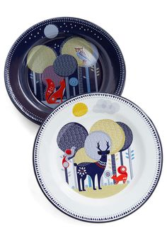 Woodland Whimsy Enamel Plate Set. Like something from a fairytale, the storybook scenes of forest creatures on this plate set have captured you with their magic! #multi #modcloth
