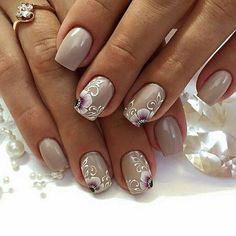 32 Ideas French Manicure With Flower One Stroke Gel Manicure Designs, Manicure And Pedicure, Fancy Nails, Pretty Nails, White Lace Nails, Latest Nail Art, Creative Nail Designs, Burgundy Nails, Girls Nails